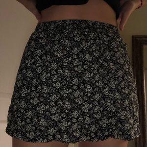 Black/White Floral Print Mini Skirt